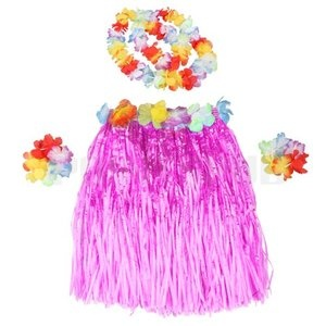 Set Children Hawaiian Grass Skirt Hula Luau Fancy Dress