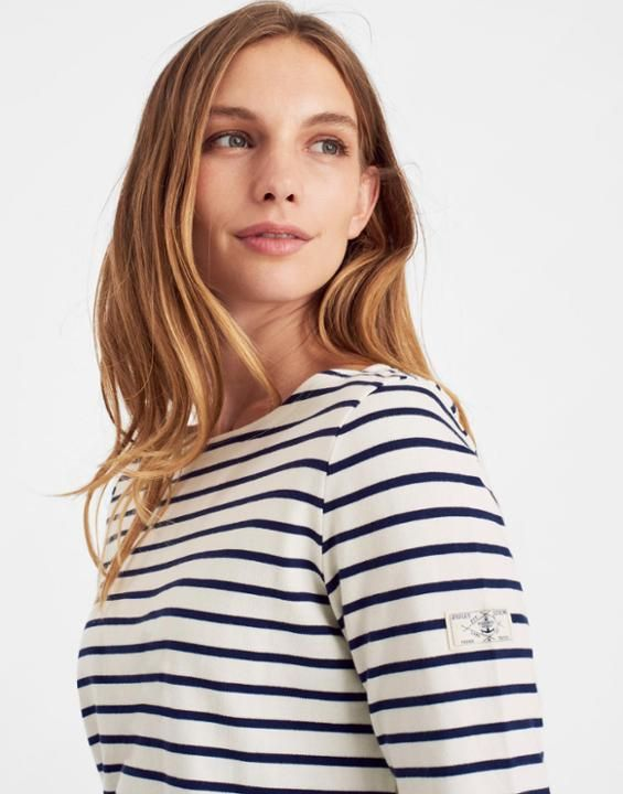 Joules UK HARBOUR Womens Jersey Top Cream Stripe