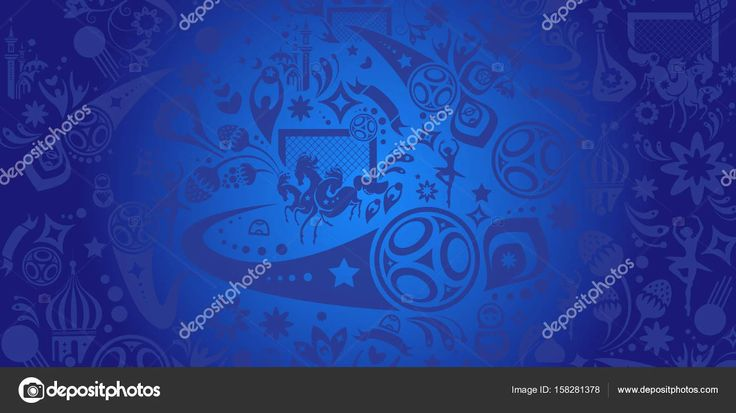 Football 2018 Russia banner. Abstract football background, dynamic texture. Russia 2018 football Vector world cup competition. Championship soccer wallpaper, Russian folk decorative elements pattern. Soccer ball, award, goal icon.
