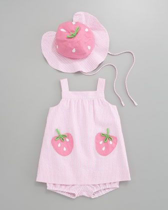 Florence Eiseman Strawberry Pockets Seersucker Dress & Hat | Bergdorf Goodman