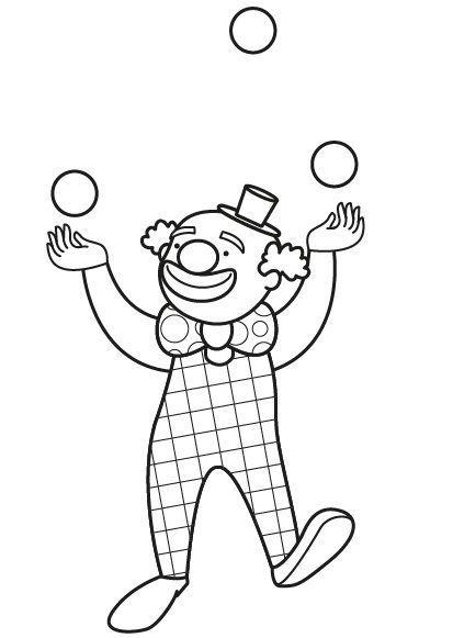 Los payasos del circo: dibujo para colorear e imprimir: