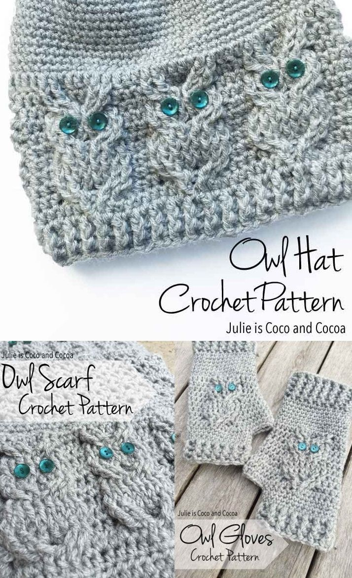 Owl Crochet Free Patterns including a scarf, gloves and hat.  Homesteading Frugal Clothing Art Form - The Homestead Survival. Com