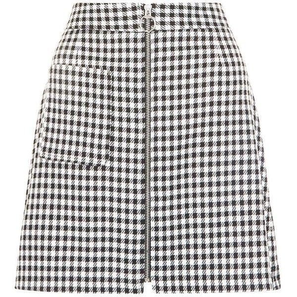 Black Gingham Check Single Pocket Zip Front Mini Skirt ($28) ❤ liked on Polyvore featuring skirts, mini skirts, bottoms, a-line skirt, black miniskirt, gingham skirt, black skirt and evening skirts