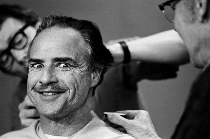 Brando on the set of the Godfather