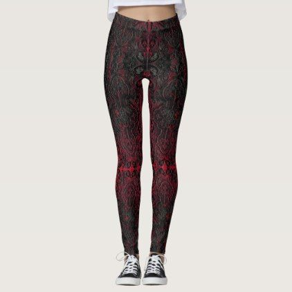 Ruby Red Romantic Weathered Gothic Crosses Pattern Leggings - romantic gifts ideas love beautiful