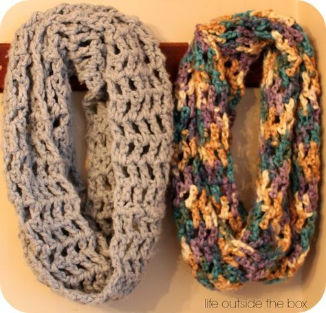 chunky 3 infinity scarf. perfect beginner scarf.