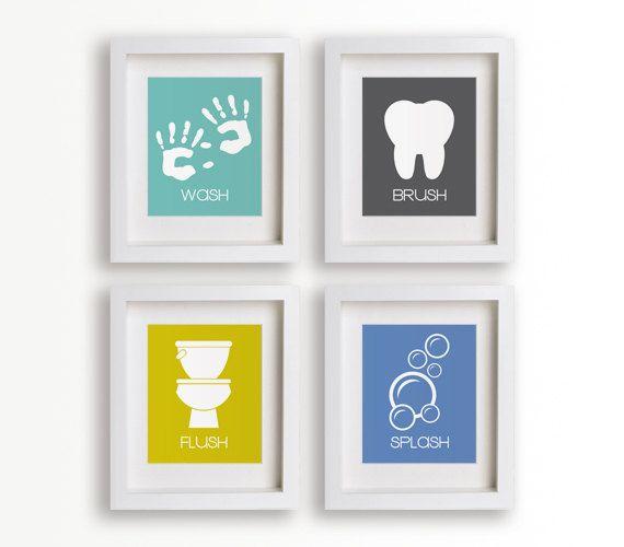Bathroom Manners  Set of Four Bathroom Decor Prints