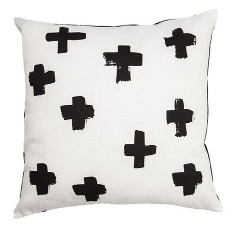 Black and White Cushion - Black Crosses