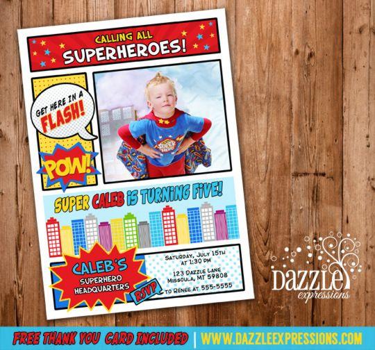96 best images on pinterest superhero party printable superhero comic photo birthday invitation super hero boys birthday party idea superman vintage free thank you card bookmarktalkfo Gallery