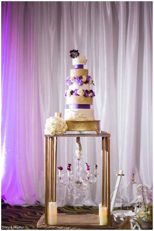 wedding-at-renaissance-hotel-in-north-hills-raleigh-nc | wedding cake by Cake Couture Boutique | Purple uplighting | www.storyandrhythm.com