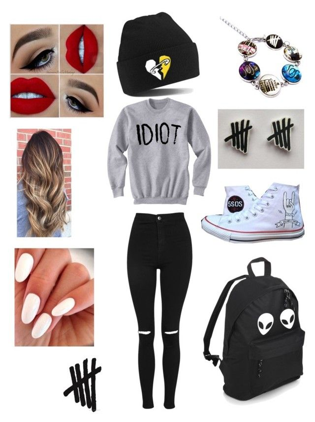 """5SOS FAM"" by olahtory on Polyvore featuring Converse and Topshop"