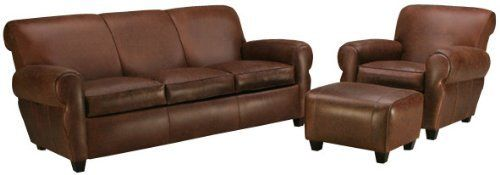 """Parker """"Designer Style"""" Leather Living Room Sofa Set . $3613.60. YOU SAVE $50.00! Leather sofa set includes 1 leather sofa (pictured), 1 leather club chair (pictured), and 1 matching leather ottoman (pictured). See individual pieces for dimensions. Available in 20 distinct leather colors and 2 leg color choices. * Seat Height 20""""/Arm Height 25.5"""" * Select Kiln Dried Frames * 100% Top Grain Leather * Guaranteed """"No-Sag"""" Springs * Removable & Zippered Seats * Care..."""