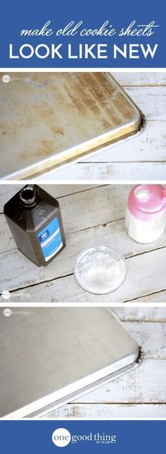 See how my favorite cleaning combination...Baking Soda and Hydrogen Peroxide...works its' magic on seriously stained old cookie sheets!