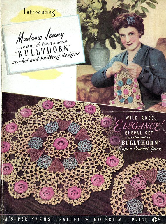 PDF Antique 1930s Doily Set Irish Crochet Pattern BULLTHORN