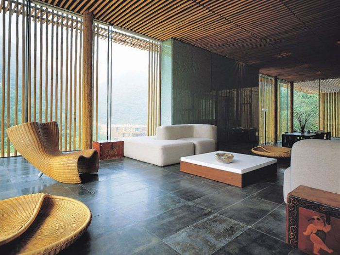 Bamboo Great Wall House Design Living Room With Unique Rattan Sofa Daybed Japanese Style Making Building Construction
