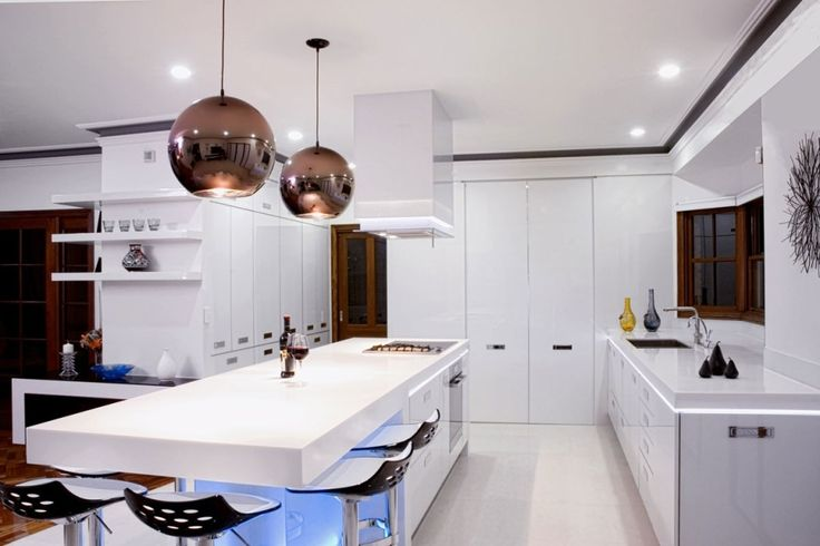 Kitchen Designs:Modern Kitchen With Infused Light In White Combines Dark Color Kitchens by Mal Corboy