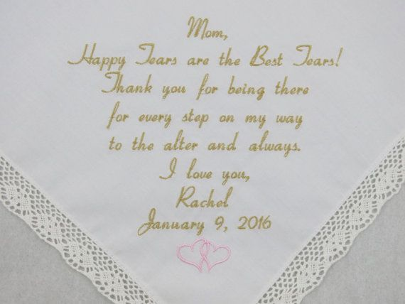 Embroidered Wedding Handkerchief for Mother of by NapaEmbroidery