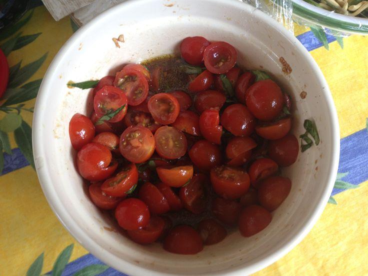 Cherry tomato salad - Mediterranean Women Don't Get Fat Too. Gluten/dairy free.