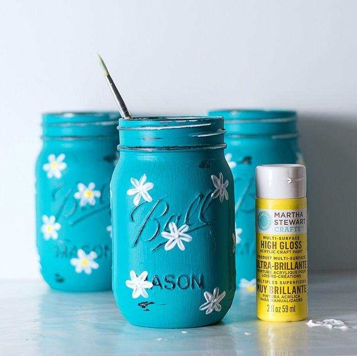 Painted Daisy Mason Jars Mason Jar ProjectsMason
