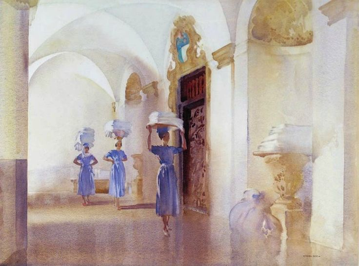 The Palace Linen, Sir William Russell Flint. (1880 - 1969) - Watercolor -