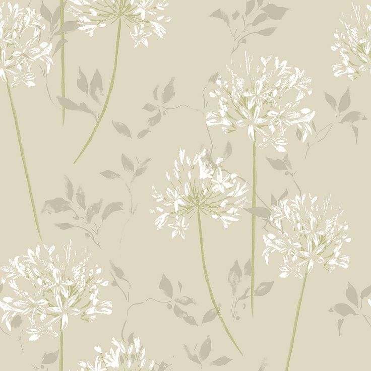 Agapanthus Natural Wallpaper | Dunelm