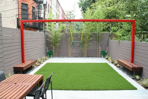 Swing for a small outdoor space, back yard. Just add SYNLawn for an easy to maintain and safe area to play.
