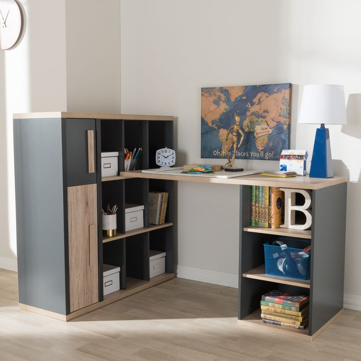 Contemporary Dark Grey and Light Brown Study Desk by Baxton Studio, Size Large