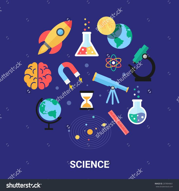 Science Vector Illustration, Flat Icons. Astronomy, Chemistry, Physics, Maths…