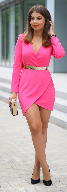 Hot Pink Wrap Little Dress #Fashionistas