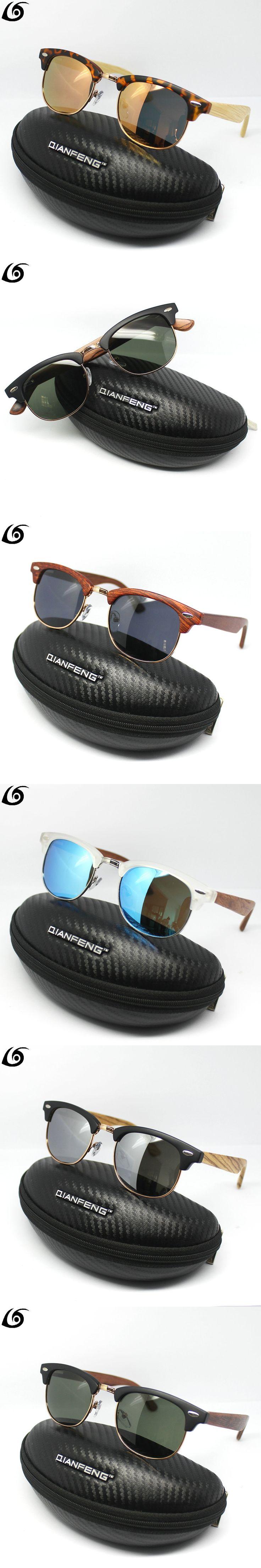 QianFeng Retro Wood Sunglasses Men Bamboo Sunglass Women Brand Design Sport Goggles Gold Mirror Sun Glasses Shades lunette oculo