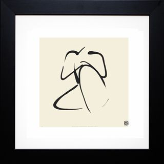 Artist: Ty Wilson Title: Female, Pose 2 Product type: Framed artwork Style: Other Format: Square Size: Large Subject: People Frame: Black Matte: Antique White/Cream Mat Image dimensions: 12 inches x 1