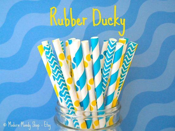 Pailles papier mixte bleu et jaune Rubber par PopUpPartiesShop