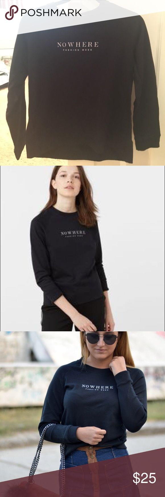 """Mango Clothing """"Nowhere Fashion Week"""" Black Shirt Black crew beck sweatshirt reading """"Nowhere Fashion Week"""" in the center in white. Size small (US), size medium (EU). Only worn once and in perfect condition. Mango Sweaters Crew & Scoop Necks"""