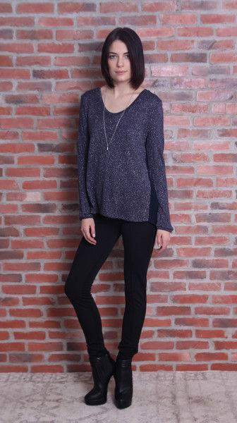 Shimmer Sweater Shimmer Sweater $85.50 $95.00  Navy sweater with silk backing. Flex of shimmer throughout. Fall doesn't mean you can't sparkle. Oh and do us a favor, never listen to anyone who doesn't love black and blue; especially if it's this sweater with black leather skinnies. Pink Stitch.