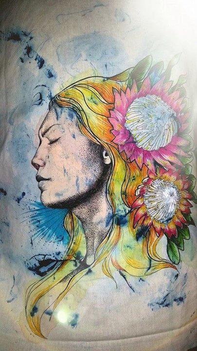 SA Flora Series Cushion Cover No.1 - by Di Paterson. Paint, Sharpies on Cotton (2015) Illustration, Shaving Foam Marbling, Sharpies, Art, Cushion Cover, Proteas, Woman, Portrait, Acrylics www.facebook.com/Artfulfox1