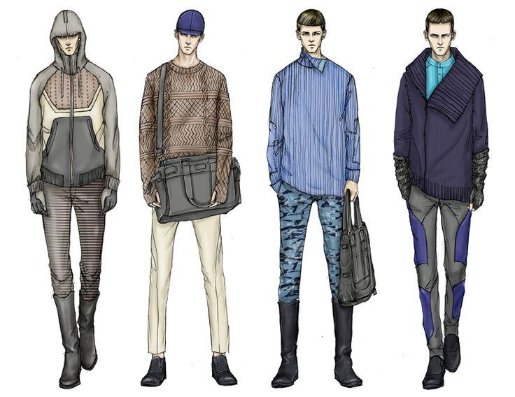 Fashion Illustrator Mengjie Di: Commission from StyleSight Trend ForeCasting Menswear Illustrations ( Photoshop Rendering)