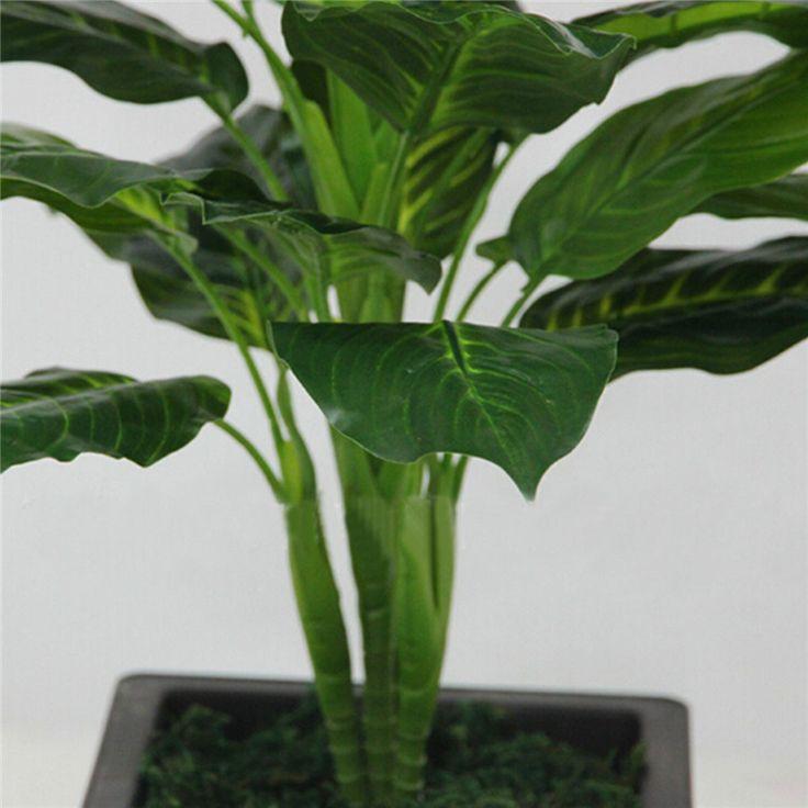 Большой 50 СМ Вечнозеленые Искусственные Растения 25 Листов Реалистичные Буш Горшечные Растения Пластиковые Green Tree Главная Сад Украшения Офиса купить на AliExpress