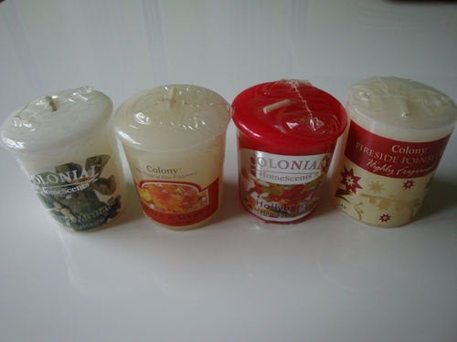 Assorted Christmas Colony Room Scenter Votive Pillar Candles | eBay