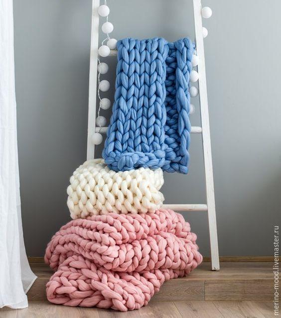Knitted Plaid   Уютный и нежный плед из толстой 100% шерсти мериноса 90x140 в интернет магазине на Ярмарке Мастеров