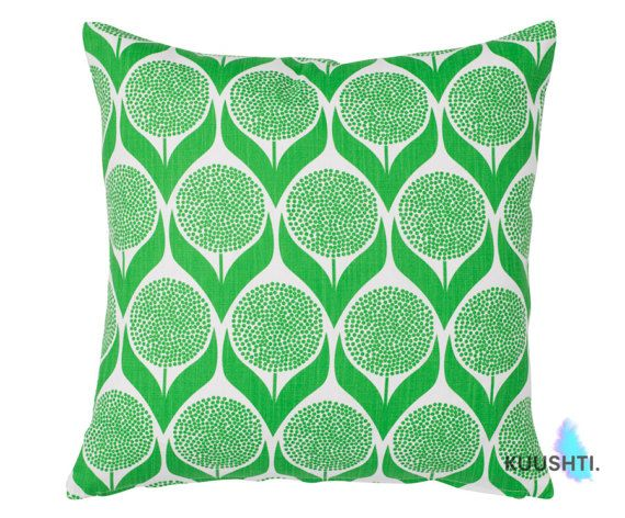 KUUSHTI ------------ Product: B L O M M A | G R E E N Contemporary Scandinavian pillow cover in a stunning green and white geometric floral pattern. Perfect for a bright modern setting. Details: A cover made to fit a 24 / 60cm inner - or request a custom listing to have your own size made