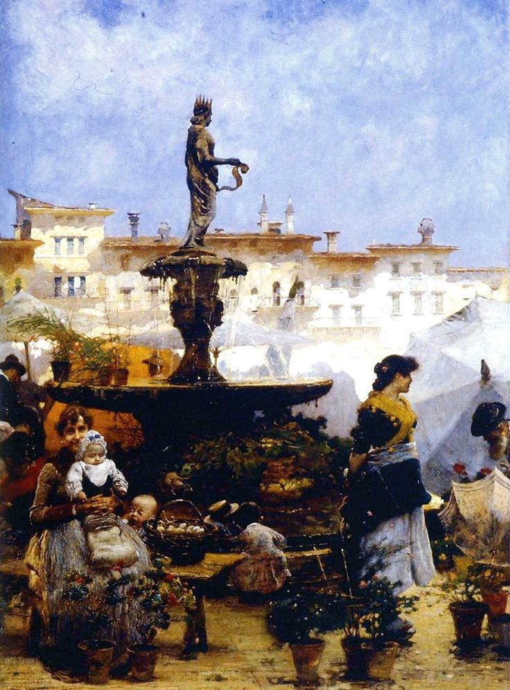 Popolani davanti alla fontana di Madonna Verona by Angelo Dall'Oca Bianca (Verona 1858-1942)