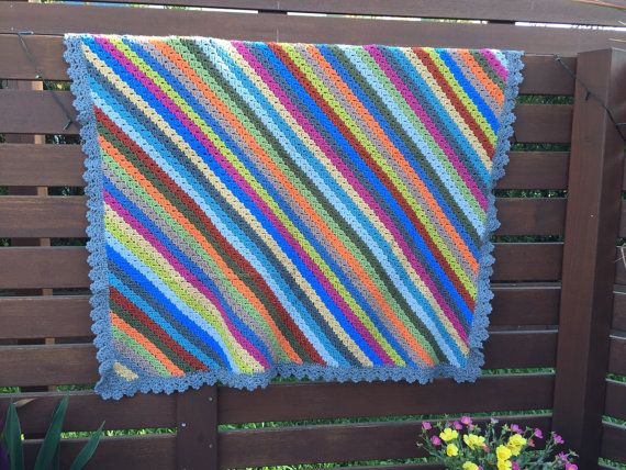 Colourful Crochet Throw by LilShopOCrochet on Etsy