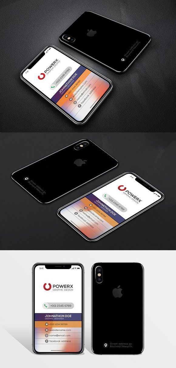 iPhone X Business Card #vazon #creative | Business Card Templates ...
