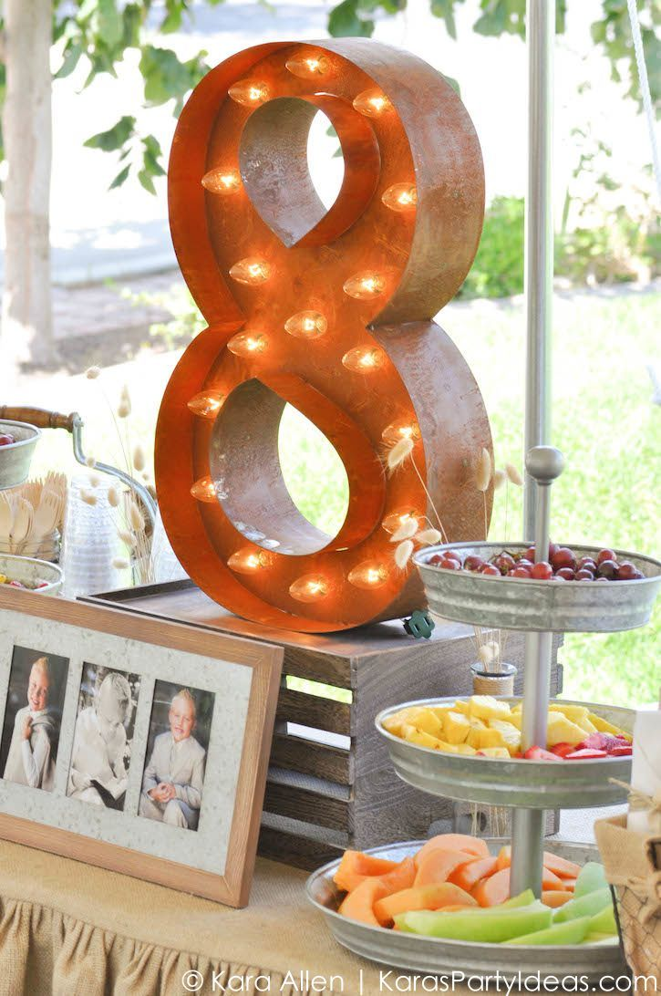 vintage number 8 marquee light at a Chalk + Chalkboard and Burlap themed baptism luncheon party via Kara Allen | Kara's Party Ideas | KarasPartyIdeas.com #baptism #ldsbaptism #karaspartyideas_-257