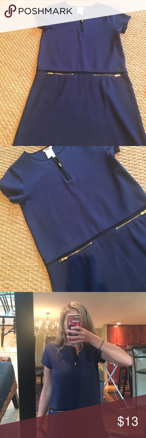 J Crew Dress This dress is navy with gold zippers and leather accents. It is very comfy and nicely made. It sized as a girls 14, but can easily be worn as a women's XS/S. J Crew's kids brand Crewcuts tends to run large. J Crew Dresses