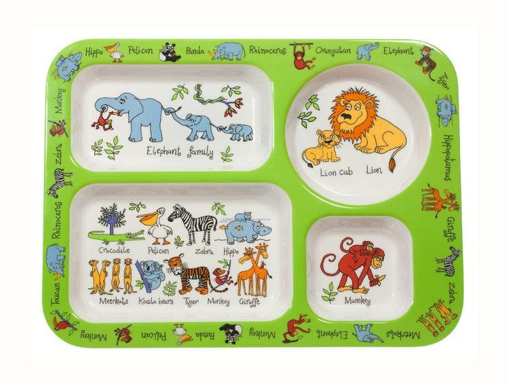 Plateau repas jungle compartiments pour le repas des enfants - Plateau repas enfant ...
