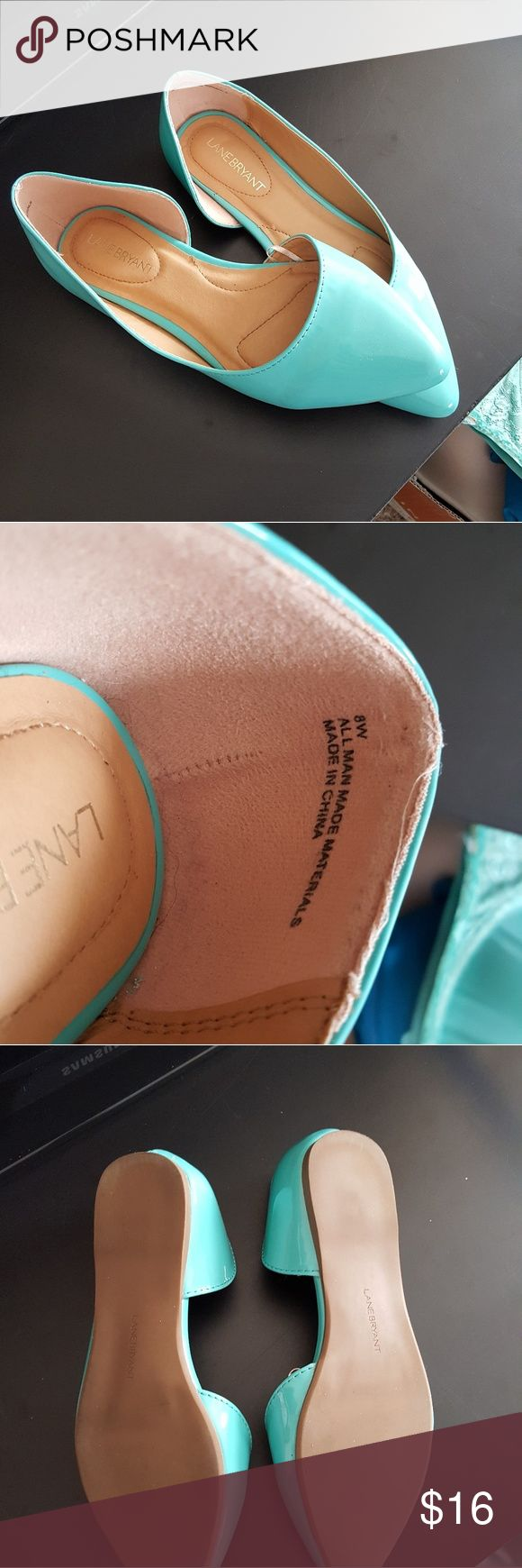 Like New Teal Flats Gorgeous color.  Worn only once.  Wide foot size. Lane Bryant Shoes Flats & Loafers