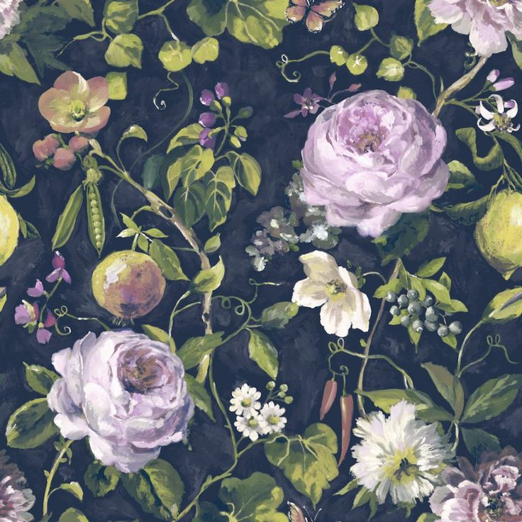 Holden Decor Viola vintage floral navy wallpaper. Viola From the Holden Decor Statement collection. An alluring country garden vintage floral wallpaper.