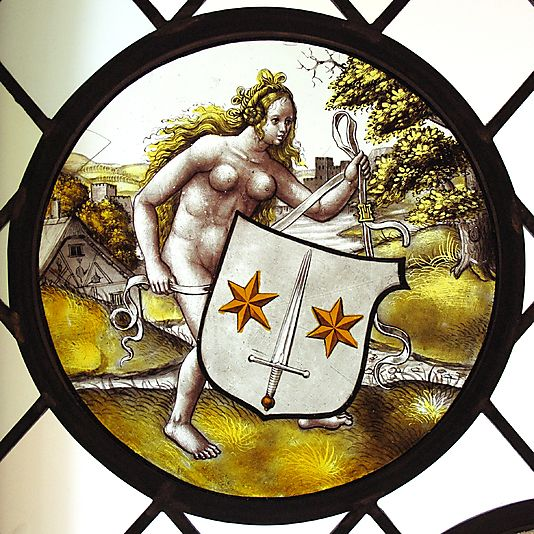 Roundel with Nude Woman Supporting a Heraldic Shield Style of Jan Gossart (called Mabuse) (Netherlandish, Maubeuge ca. 1478–1532 Antwerp (?))