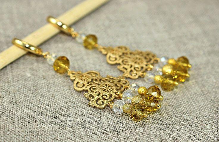 Купить Серьги «Золото скифов». - желтый, Сваровски, кристаллы сваровски, серьги, серьги длинные